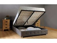 Double Fabric Ottoman Storage Bed Frame Grey