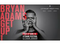 TWO TICKETS TO SEE BRYAN ADAMS AT LYTHAM FESTIVAL 6th AUGUST