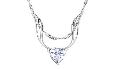 Guardian Angel Wing Necklace Made with Swarovski Crystal by Barzel - NEW