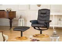 Black Leather Swivel Recliner and Footstool VG+ condition RRP £429.99