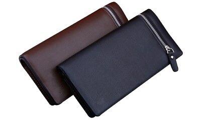 Portafoglio borsellino da uomo lungo molteplici scomparti con zip colore NERO