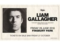 Liam Gallagher x2 tickets for Finsbury Park 29th June