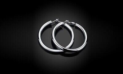 Hoop Earring Set in 18K White Gold Plated Classic tube hoops: 5cm x 0.5cm