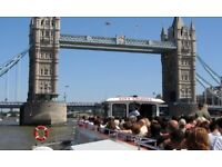 London Thames River Cruise for two days unlimited ride from February 9 and February 10. For 2 adults