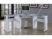 White, glass corner desk