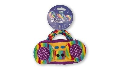 PET BRANDS GROOVY BOOMBOX PLUSH SQUEAKY STUFFED DOG PUPPY PULL TUG TOY RAD1 P