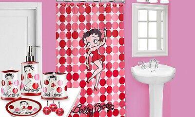 Hello BETTY BOOP FABRIC SHOWER CURTAIN PINK   POPULAR BATH + 12 Shower Hooks Disc Shower Curtain Hooks