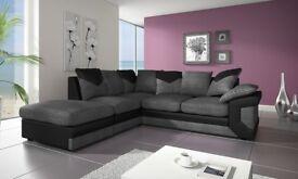 BLACK/GREY OR BROWN/BEIGE--- NEW DINO JUMBO CORD Corner/3+2 Seater Sofa - BLACK GREY OR BROWN BEIGE