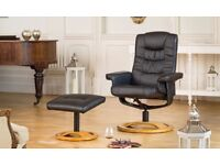 Palmares Swivel Recliner and Footstool (Black) VG+ condition RRP £429.99