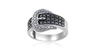 Sterling Silver 1/4CT Black Diamond Belt Buckle Ring