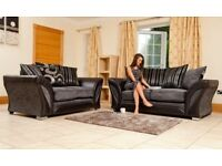 SHANNON 3 AND 2 SEATER FABRIC SOFA SET, DUAL ARM CORNER SUITE IN BLACK/GREY, BROWN/BEIGE