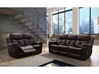 STUNNING LEATHER RECLINER SOFAS 3 + 2 WITH FAST AMD FREE DELIVERY - RRP£1199