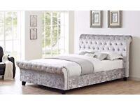 ★★ BRAND NEW ★★ SLEIGH DESIGNER CRUSH VELVET DOUBLE BED ALL SIZE AVAILABLE SINGLE KINGIZE