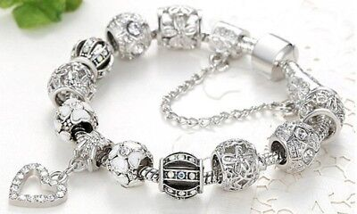 18K White Gold Plated Crystal Heart Charm Bracelet Made with Swarovski (White Gold Plated Bangle)
