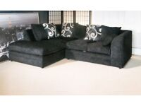 BRAND NEW L/H CORNER SOFA IN' BLACK CHENILLE FABRIC ALL OVER'....ONLY £259.99