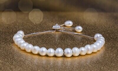 925 Sterling Silver Cultured Freshwater White Pearl (5mm) Bolo Bracelet 1/10 -