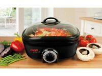8 in 1 Multi Cooker. Slow cook, roast, deep fry, sauté, grill, steam, boil, keep warm. Timer.