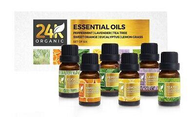 24K Organic Aromatic Essential Oil Set in 10 ml Bottles (6-Pack)