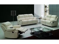 **EXCLUSIVE Design **Extra Soft Bonded Recliner Sofa Set Black Cream or Brown Colour