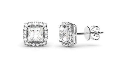 0.80Ct Diamond Created Square Halo Stud Earrings 14k White Gold Plated