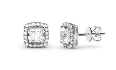0 80Ct Diamond Created Square Halo Stud Earrings 14K White Gold Plated