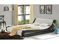 *14-DAY MONEY BACK GUARANTEE* Amari Italian Style Leather Bed and Memory Mattress- *FREE UK DELIVERY