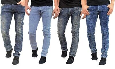 - Men's biker jeans, Skinny fit premium acid wash denim