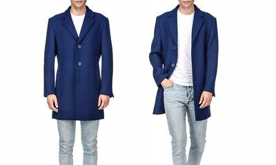 Wool Single Breasted 3 Button - Braveman Men's Single Breasted Wool Blend 3 Button Coat Indigo Blue Size: XXL