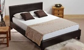 BLACK AND BROWN - BRAND NEW DOUBLE AND KING LEATHER BED WITH ROYAL ORTHOPEDIC MATTRESS - CHEAP PRICE
