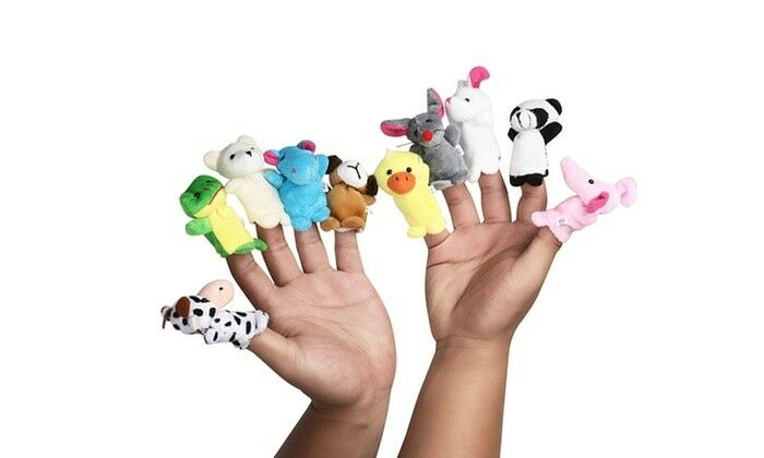 Velvet Cartoon Family Finger Puppets Cloth Doll Baby Educational Hand Animal Toy Baby