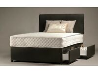 BRAND NEW - Double storage divan bed & 2 drawers in black brown Single bed / Double bed /King Size