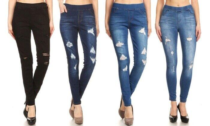 Women High Waisted Ripped Stretchy Slim Skinny Jeans Denim L