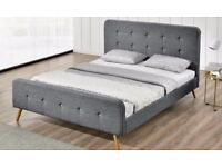 King Size Winchester Charcoal Fabric Bed Frame With 9inch Deep Spring Ortho Mattress