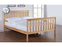 KING SIZE PINE BED WITH MATTRESS - ONLY 2 MONTHS OLD!