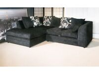 BRAND NEW L/H BLACK ZINA CORNER SOFA WITH FOAM CUSHIONS...ONLY £259.99