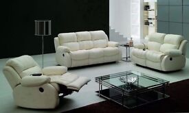 London Bonded 3+2 seater leather reclining sofa colors Available in Black, Brown or Cream