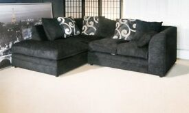 BRAND NEW L/H BLACK ZINA CORNER SOFA WITH FOAM FILLED CUSHIONS... ONLY £259.99