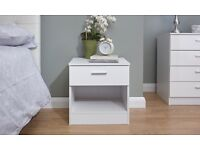 New White Gloss Bedside Cabinet
