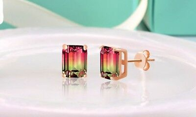 Watermelon Tourmaline Slice 9.00ct 14k Rose Gold Earring + Gift Box!