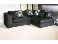 BRAND NEW R/H BLACK ZINA CORNER SOFA WITH FOAM FILLED CUSHIONS... ONLY 259.99