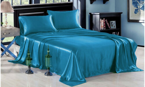 4-PC Turquoise Bridal Satin Silky Sheet Set Queen/King Size