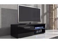 DESIGNER TV UNIT STAND 120CM WITH LED LIGHTS WHITE and BLACK