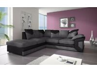 ❋★❋ DINO JUMBO CORD ❋★❋ BLK/GREY 3+2 OR CORNER SOFA + FOOTSTOOL EXPRESS DELIVERY