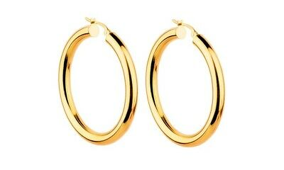 14K Yellow Gold 34mm Thickness High Polished Classic Hinged Hoop Earrings