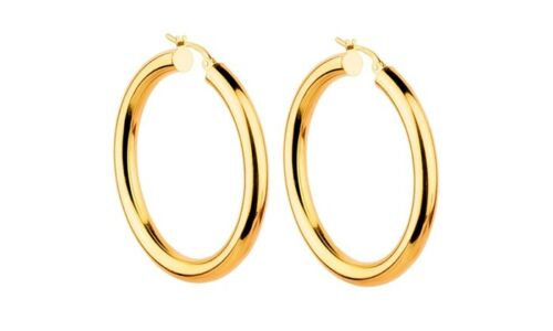 14K Yellow Gold 34mm Thickness High Polished Classic Hinged Hoop Earrings Silver