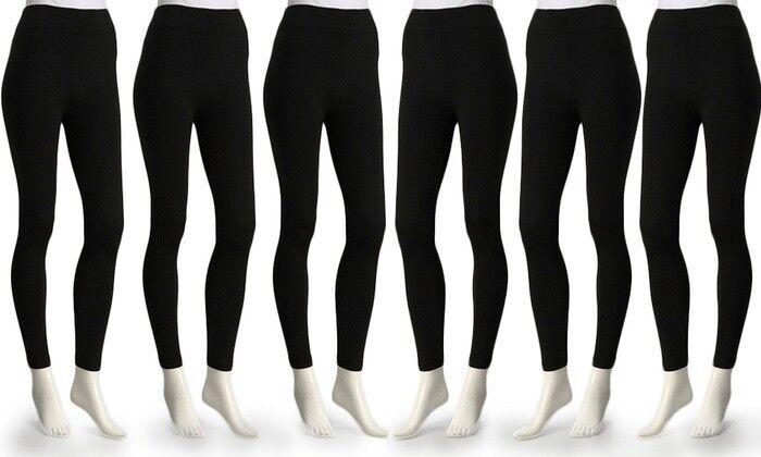 6-Pack Super Comfort Ladies Opaque Fleece-Lined Leggings