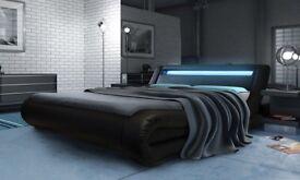Black Leather LED King Size Bed Frame