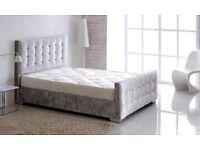 Brand New Kingsize Silver Grey Velvet Fabric Bed Frame