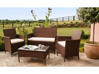 4 Piece Outdoor Rattan Set including table