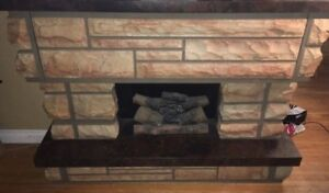 **OLD** antique fireplace with built in record player & 8 track